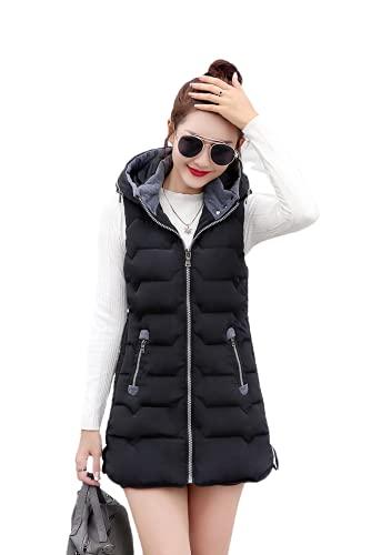 Tekaopuer Chaleco con capucha para mujer, cálido chaleco de invierno con cremallera acolchada con capucha, chaleco sin mangas, Z2-negro, XXL