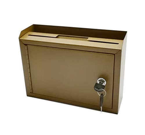 """FixtureDisplays 10 x 7.2 x 3"""",Metal Multipurpose, Donation Box,Cash and Mail Box,Suggestion Box 15211 Copper-One Rate"""