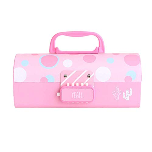Pencil Case Cute Dustproof Multifunctional Multi Layer Large Capacity Storage Organizer Double Coded Lock Students Stationery Box Gift Home School Portable Paper(Pink Dots)