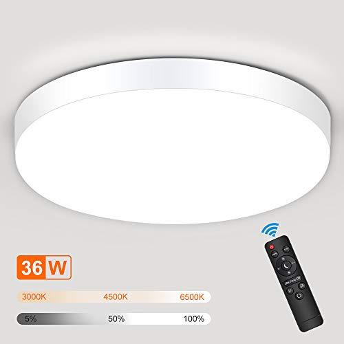 SOLMORE LED Deckenleuchte Dimmbar, 36W Deckenlampe Mit Fernbedienung, 3000K 4500K 6500K Lichtfarbe und Helligkeit einstellbar, IP54 Wasserdichte 3000LM ideal für Wohnzimmer Badezimmer Flur, Ø30cm