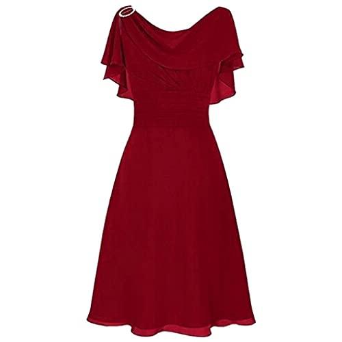 LOPILY Abendkleid Große Größen Damen Rüschen Kurzarm V-Ausschnitt Cocktail Kleid Rückenfreies Kleid Übergrößen Festliche Kleider für Damen Große Größen Kleid für Hochzeit Gast (Rot, DE-44/CN-3XL)