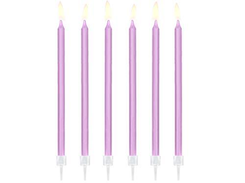 Dream' s Party 12 Candele Mezzo Stelo - Lilla - candeline in Cera Maxi per Torte e Dolci, Decorazione per Feste, Compleanno, Matrimonio ECC.- Candela Matita H15cm