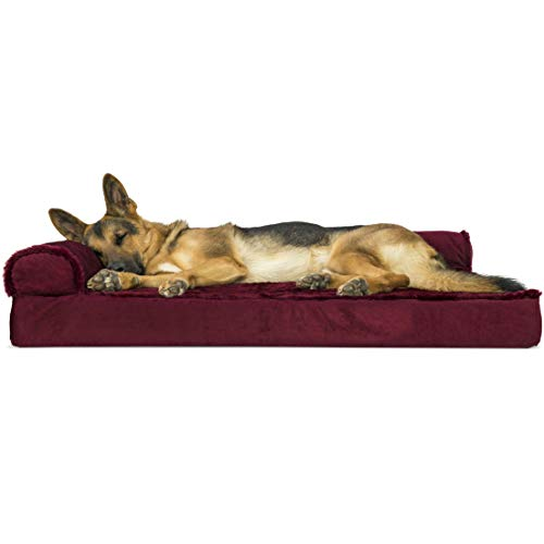 Furhaven Pet Dog Bed   Deluxe Orthopedic Plush Faux Fur & Velvet L Shaped Chaise Lounge Living Room Corner Couch Pet Bed w/ Removable Cover for Dogs & Cats, Merlot Red, Jumbo Chairs Custom Dog Sofas Stores Supplies Top