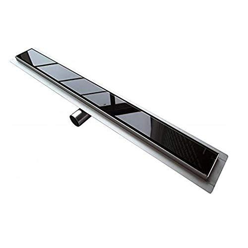 Idralite Duschrinne aus Edelstahl 100 cm mit schwarzer Glas Blende Mod. Glass