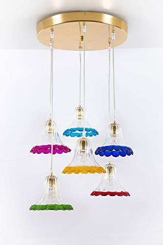 Suspension en verre de Murano 6 lumières multicolores