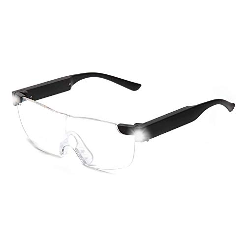 magnification glasses SKYWAY Magnifying Glasses with Light, 160% LED Lighted Rechargeable Magnifier Eyeglasses for Reading Hobbies and Close Work Hands Free