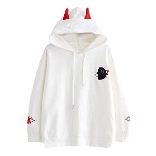 Sudadera con capucha para mujer, diseño de diablo bordado, manga larga, sudadera con capucha