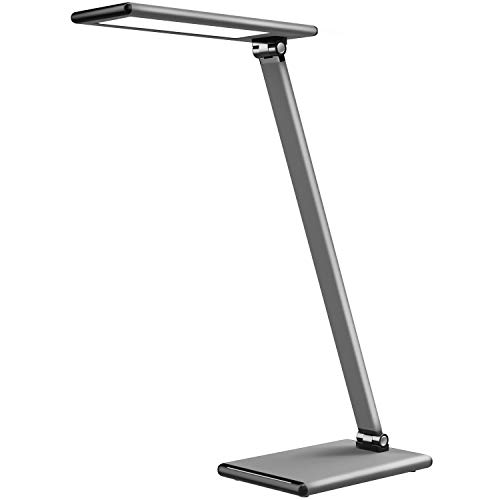 MoKo 8W LED Schreibtischlampe - Aluminum dimmbar Tischlampe und Farbtemperaturen 2700-6500K, mit Drehbarer Arm/Kopf, Augenschutz, Speicherfunktion, Space Grau