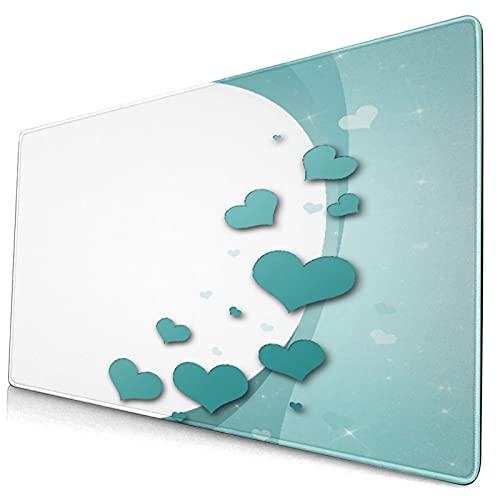 Großes dekoratives Gaming-Mauspad,Romantische Kunst mit Herzen Sterne Hochzeit,lange Computermausmatte mit rutschfester Gummibasis für Büro/Spiele/Zuhause
