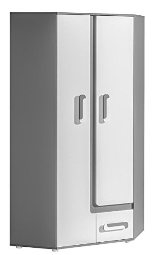 Smartbett Abetito - Armario de esquina, color gris y blanco