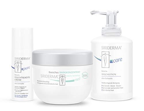 SIRIDERMA® Pflege-Set bei Rosacea/Couperose | Badekonzentrat, Waschlotion, Feuchtigkeitscreme | 3 Gratis-Probiergrößen (ohne Duft)