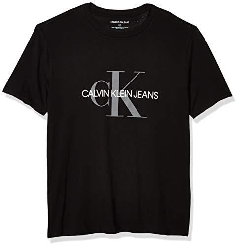 Calvin Klein Men's Short Sleeve Monogram Logo T-Shirt, Black UNbox, Large