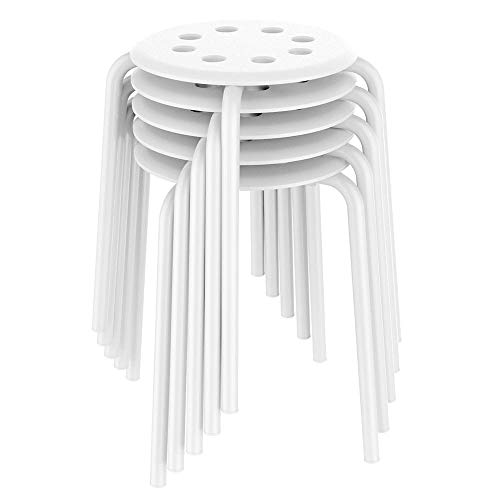 Yaheetech 17.3in Plastic Stack Stools Kids Children Stools for Classroom Backless Round Top Bar Stools Flexible Seating for Kitchen Home Garden Living Room Dining Room Pack of 5 White