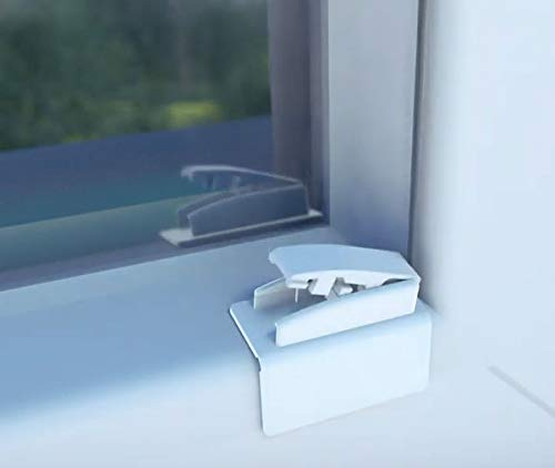 Quickfit 4er Set Klebeplatten mit Gelenk und Spannschuh für bohrfreie Montage von Plissee Faltstore verspannt für Kunststofffenster mit schmalen Falz