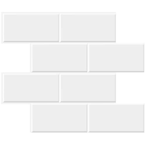 STICKGOO 10-Sheet Thicker Design Peel and Stick Subway Tile, Stick on Tiles Backsplash for Kitchen & Bathroom in White