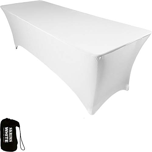 Amazin Gear SKRIMS PRO DJ Table Scrim Cover, 4' WHITE Stretch Spandex Tablecloth w/Cable Holes +FREE Bag, Ideal for Glow LED Light Effect