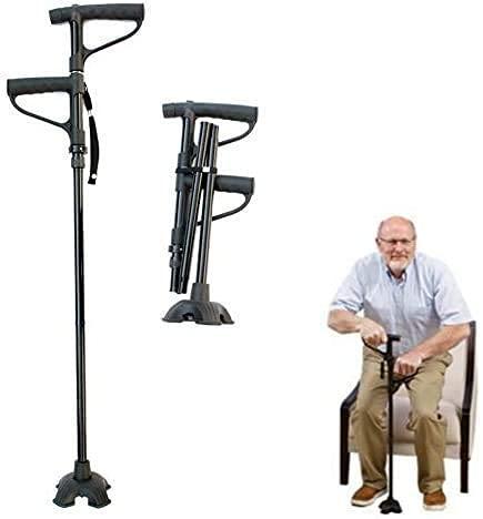 Levantarse de altura ajustable con manija asistida de ABS, muletas plegables portátiles de aleación de aluminio, bastón plegable antideslizante, bastón de trekking para hombres y mujeres