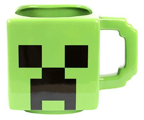 Taza Oficial Creeper de Minecraft I Taza de Cerámica de 600ml I Taza del Juego Minecraft, Taza con Diseño del Personaje para Regalo de Cumpleaños y Navidad
