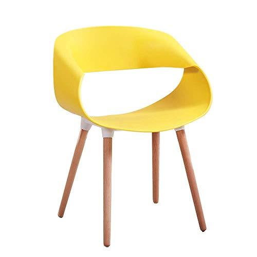 YLCJ nonchalante bureaustoel, geschikt voor winkels, slaapkamer, woonkamer, zitting van PP, stoel van massief hout, nonchalante stijl, modern en eenvoudig (kleur: geel) Geel