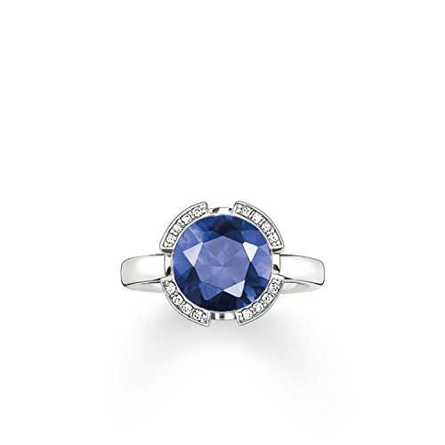 Thomas Sabo Women-Ring Glam & Soul 925 Sterling Silver Zirconia white dark-blue Sz. 54 (17.2) TR2038-050-32-54