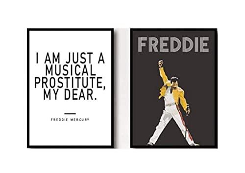 Freddie Mercury Poster Queen Testi Stampe Musica Wall Art Stampe su Tela Pittura Nero Bianco Nessuna Immagine Incorniciata per La Decorazione del Soggiorno Moderna
