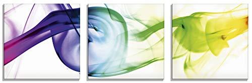 Artland Glasbilder Wandbild Glas Bild 3er Set 3 teilig je 30x30 cm Quadratisch Design Abstrakte Kunst Farben Muster Rauch Bunt T5QF