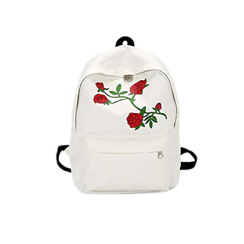 Backpack Men's Heart-Shaped Canvas Backpack Women's Bag Backpack Rose Embroidered Youth Backpack Women's Travel Bag White 38 * 27 * 11Cm