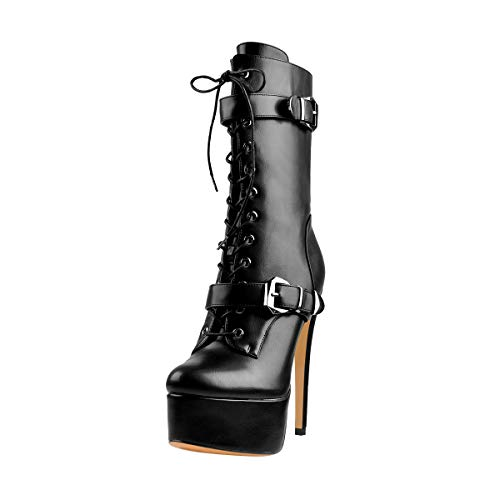Only maker Women's Mid-Calf Platform Boots High Heel Stiletto Lace up Booties Zipper Buckle Strap Shoes Black Size 13
