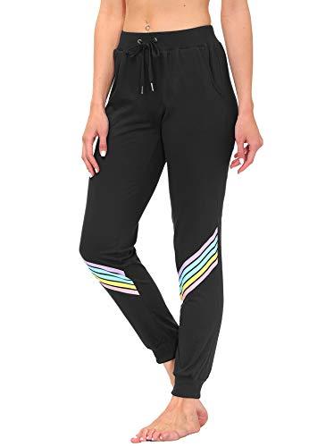 DOTIN Pantalones de chándal para mujer, para tiempo libre, a rayas, de algodón, largos, cintura elástica, con bolsillos Negro M