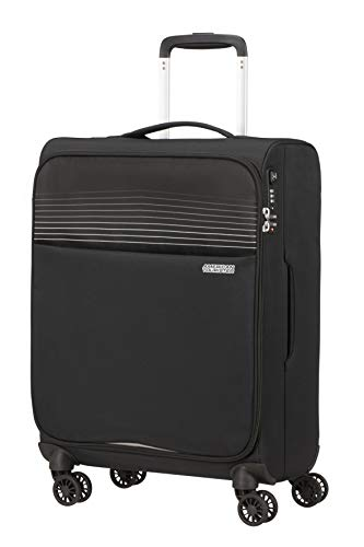 American Tourister Lite Ray Luggage- Carry-On Luggage, Spinner S (55 cm - 42 L), Jet Black