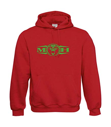 TEXTIL MONSTER Masters of Hardcore Gabber - Sudadera con capucha, color verde neón rojo S