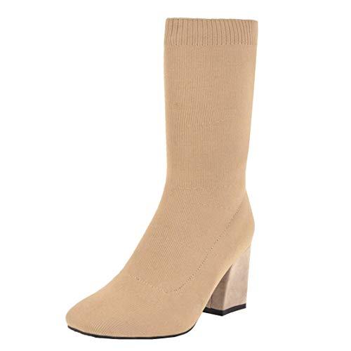 MISSUIT Damen Strick Socken Stiefeletten High Heels Stretch Stiefel Halbstiefel Blockabsatz Ohne Reißverschluss(Beige,43)