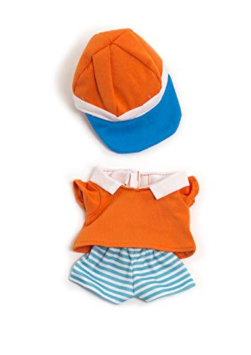 Miniland poppenkleding, 21cm Polo-shirt, korte broek en cap. 21cm oranje, wit, blauw.