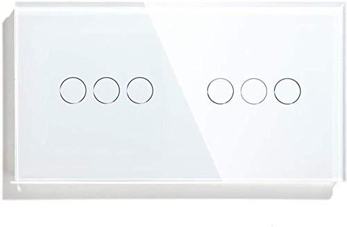 Interruptor de sensor táctil de pared de lujo de 6 bandas para el hogar Interruptor de luz de 157 mm Interruptor de panel de clase de cristal dorado negro blanco Interruptor de luz de 3 colores (