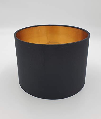Lampenschirm Rund Retro Vintage Farbe: Schwarz / Gold Stofflampenschirm Textilschirm Ersatzschirm Tischlampe Pendelleuchte E27 Fassung Durchmesser: 20cm Höhe: 14,5 cm ohne LED Leuchtmittel