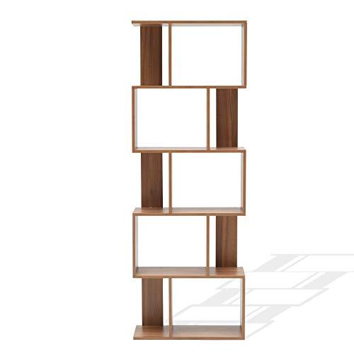 Rebecca Mobili Libreria Scaffale 5 Ripiani Marrone Rovere Contemporanea Legno Studio Salotto - 169 x 60 x 24 cm (HxLxP) - Art. RE6031