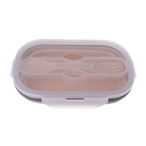 VIccoo Inklapbare Bento Silicone Lunch Box Bowl Voedsel Container Opslag Draagbare Magnetron Vaatwasser Veilig - Roze
