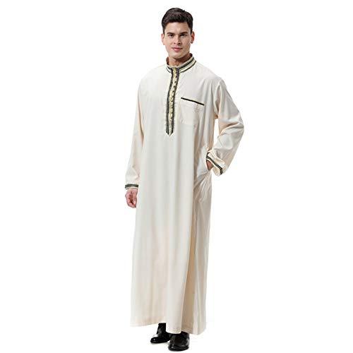 TY.OLK Ropa árabe de Wechery Long Jubba Thobe Muslim Abaya Dubai Kaftan Robe para Hombres