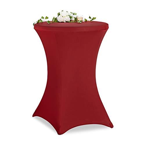 Relaxdays Stehtischhusse, ∅ 80-85cm, Stretch Tischhusse für Bistrotisch, eleganter Stehtischüberzug, waschbar, dunkelrot