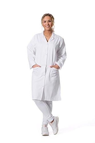 ZOLLNER Bata de Laboratorio Mujer, algodón 100%, Blanca, Talla 38, Otras Tallas