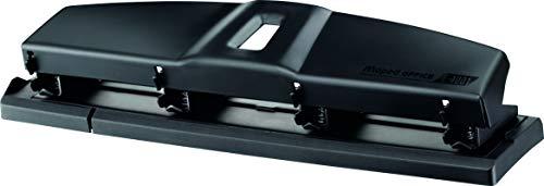 MAPED OFFICE - Perforatrice 4 Trous - Perforeuse A4 Métal pour 10 à 12 Feuilles - Avec Système de Calage Optimisé sur les Anneaux du Classeur et Trappe à Confettis - Gamme Essentials - Noir