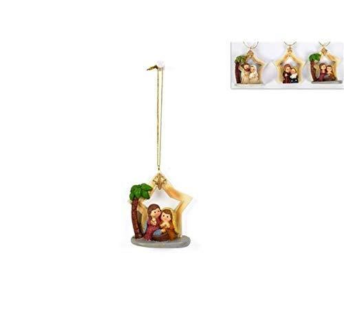 Euronatale Mini natività presepe San Giuseppe Gesù Bambino e la Madonna in Stile toon NATIVITA' Stella APPENDINO 7cm statuine in Ceramica con capanna presepe codice Prodotto CC20 DUE14870