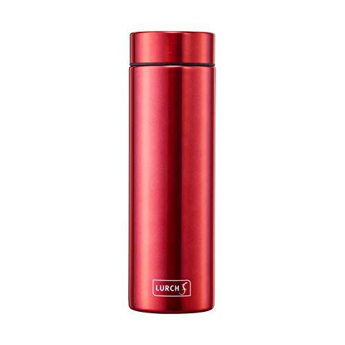 Lurch 240953 Isolierflasche Lipstick / Thermoflasche für heiߟe und kalte Getränke aus doppelwandigem Edelstahl 0,3 l cherry red