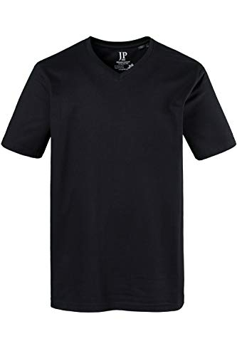 JP 1880 Herren große Größen bis 8XL, T-Shirt aus Jersey, Basic, V-Shirt, Reine Baumwolle, V-Ausschnitt, schwarz 5XL 702415 10-5XL