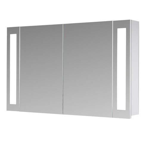 Eurosan, Armario con Espejo para baño, iluminación LED, 2 Puertas, 100 x 62 cm (Anchura x Altura), Color Blanco, San Francisco SF100