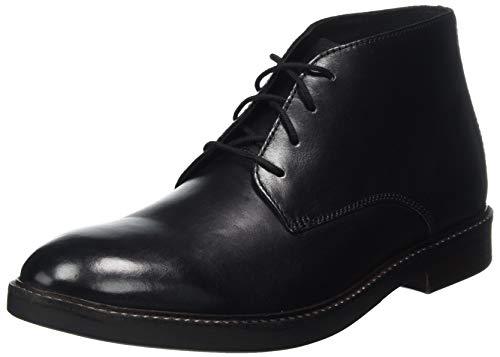 Clarks Herren Halblange Stiefel Chukka, Black Leather, 44.5 EU