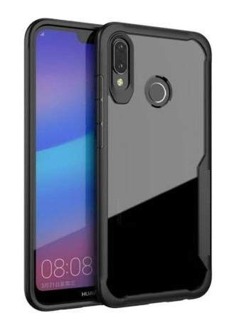 Plus Bumper Case with Clear Back Hard Panel Protective Case Cover for Motorola Moto One (Black)