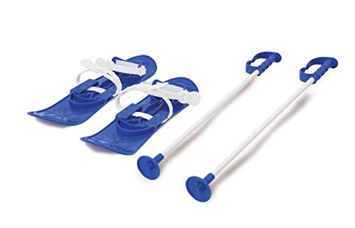 JAMARA 460382 - Snow Play Funny Carve 1st step 42cm blau - aerodynamische Bauweise, Skistöcke 60 cm, sichere / verstellbare Befestigungsschlaufen Größen (23 - 28), Skistöcke 60 cm, Anti Rutsch Rillen