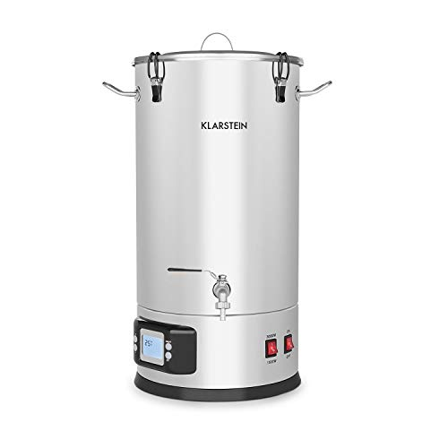 Klarstein Maischfest caldera - Olla para producir cerveza, 2 niveles: 1500/3000 W, 35 litros, Lote de 5 piezas, Cubo para filtrar, Espiral refrigerante, Pantalla LCD, Grifo, Acero 304