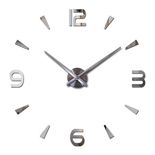 FASHION in THE CITY 3D DIY Wall Clock Creative Design Mirror Surface Wall Decorative Sticker Clocks (Silver)
